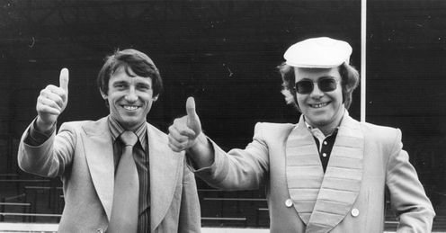 Star duet: Graham Taylor celebrates becoming Watford boss in 1977, with chairman Elton John