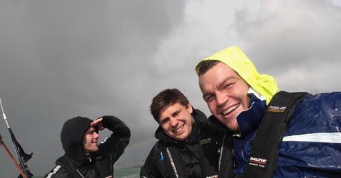 Ship-shape: Ben Youngs, Tom Croft and Matt Stevens take to the water on Waitemata Harbour