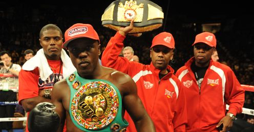 Berto celebrates after defeating Freddy Hernandez in Novembers WBC Welterweight Title bout