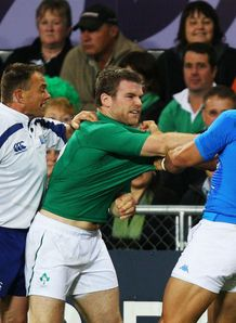 Ireland v Italy Gordon DArcy and Gonzalo Canale clash