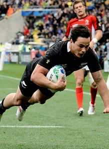 New Zealand All Black left wing Zac Guilford hat trick