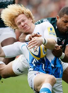 Tom Biggs brought down by Delon Armitage in London Irish against Bath