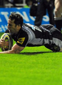 Greg Goosen Newcastle Falcons sliding in for one of his three tries against Cardiff Blues in the LV= Cup