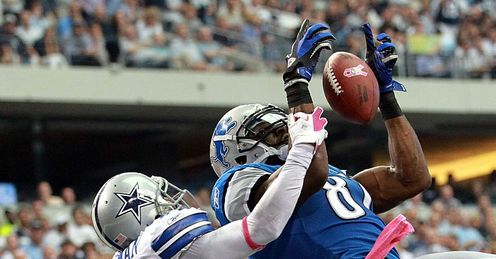 Calvin Johnson of the Detroit Lions in action against the Dallas Cowboys