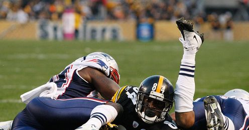 Touch Brown: Antonio Brown goes over to pile more pressure on the Patriots