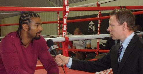 Catching up: Ed interviews his old Fitzroy Lodge mate, David Haye