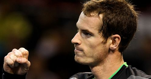 Pumped up: Murray played on the front foot against Nadal in Tokyo