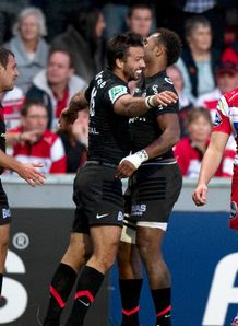 Clement Poitrenaud celebrating try for Toulouse against Gloucester