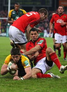 James Downey scoring for Northampton against Munster
