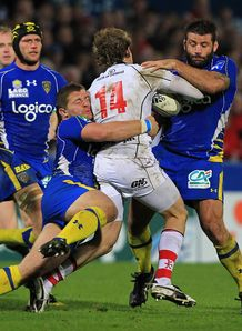 Lionel Faure tackling Andrew Trimble in Ulster v Clermont