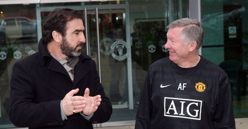 Good times: Cantona and Ferguson catch up at Carrington earlier this year
