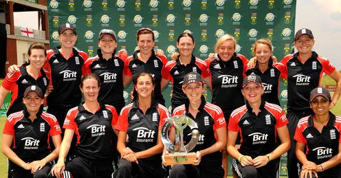 Dream team: skipper Charlotte Edwards leads the squad in celebration