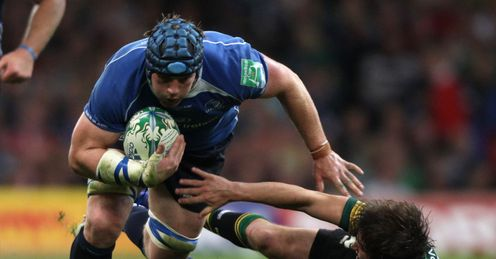 On the rampage: O'Brien makes headway in the 2011 Heineken Cup Final against Saints