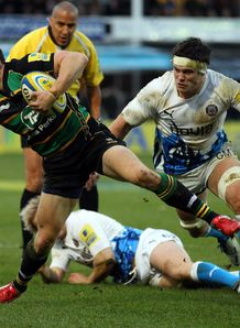 Vasily Artemyev Northampton running past a Bath tackler Christmas Eve 2011
