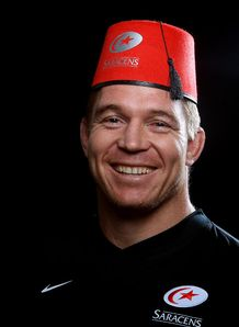 John Smit wearing a Fez for Saracens