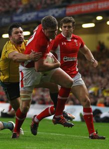 Rhys Priestland going over for Wales against Australia