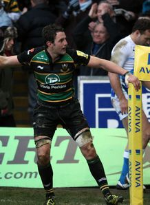 Phil Dowson Northampton celebrating scoring a try against Bath