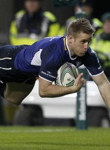 Luke Fitzgerald Leinster crossing for a try against Bath Heineken Cup