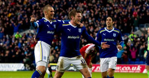 Going great Guns: Aron Gunnarsson celebrates scoring for Cardiff against Boro