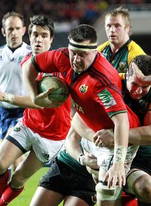 Munster s James Coughlan evades Northampton