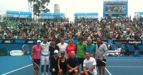 Tennis' top names put rivalries aside for Kids Day