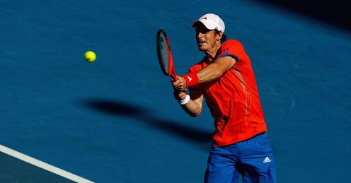 Powering on: but Murray got only 44 per cent of his first serves in play against Nishikori
