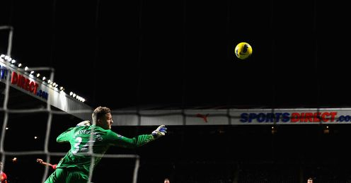 Up and running: Ba scores past Man Utd goalkeeper Anders Lindegaard
