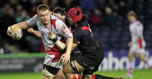 Ulster s Tom Court left is tackled by Edinburgh