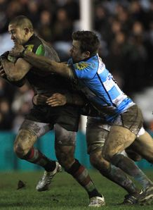Mike Brown tackled Harlequins v Worcester Warriors 2012
