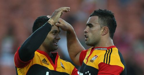 Chiefs v Highlanders - Lelia Masaga is congratulated by Liam Messam