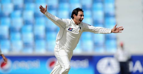 Pakistan v England 3rd Test Dubai Saeed Ajmal celebrates Jonathan Trott wicket