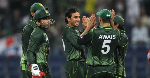 Saeed Ajmal Pakistan celebrating a wicket during the third T20 against England