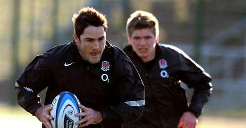 Brad Barritt and Owen Farrell in training ahead of the tour