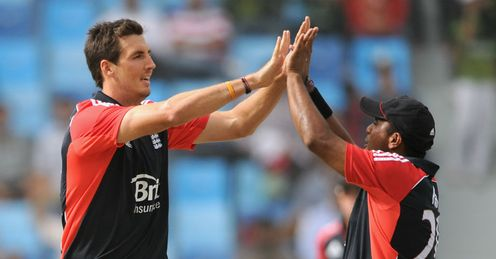 Steven Finn England celebrating a wicket against Pakistan in the third one-dayer Dubai