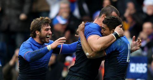 France celebrating Wesley Fofana try v Scotland Six Nations Murrayfield Feb 2012