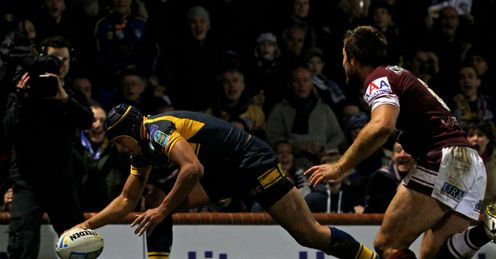 Ben Jones-Bishop Leeds Rhinos scoring a try against Manly Sea Eagles