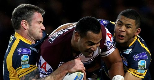 Tony Williams Manly Sea Eagles stopped by Leeds Rhinos 2012 World Club Challenge