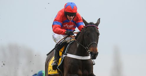 Barry Geraghty and Sprinter Sacre clear the last to win The Betfair Super Saturday Steeple Chase at Newbury