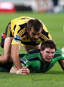 conrad smith colin slade hurricanes v highlanders 2012