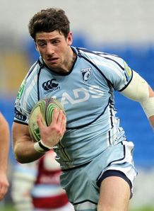 Cardiff Blues Alex Cuthbert breaks