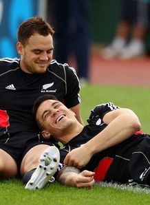 Israel Dagg sitting with Sonny Bill Williams