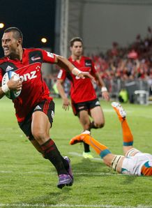 Robbie Freuan scoring for Crusaders at new stadium