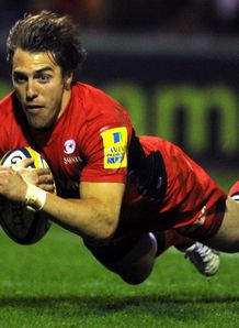 Chris Wyles Saracens scoring a try against Sale