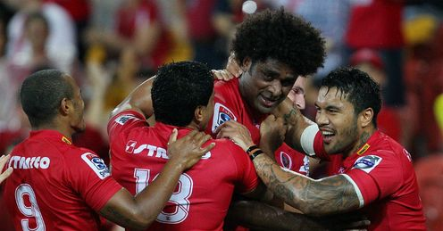 The Reds celebrate Radike Samos try