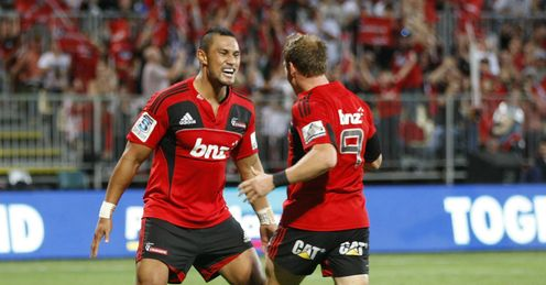 Robbie Fruean and Andy Ellis celebrate