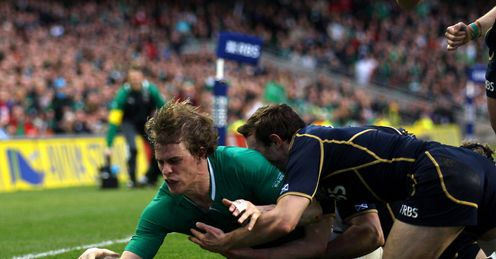 Andrew Trimble of Ireland scores v Scotland 2012