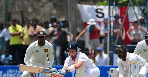 Best foot forward? Ian Bell sweeps in Galle but the shot proved his undoing in the second innings