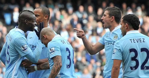 Balotelli and Kolarov clash over a free-kick at the weekend