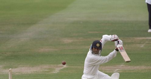 Opening shot: Dravid on the drive during his Test debut at Lord's, in 1996