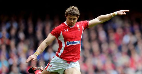 Leigh Halfpenny Wales kicking a goal against France 2012 RBS Six Nations